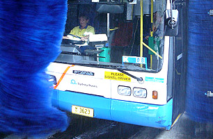 Drive thru Bus Wash 4PL in action at STA Kingsrove
